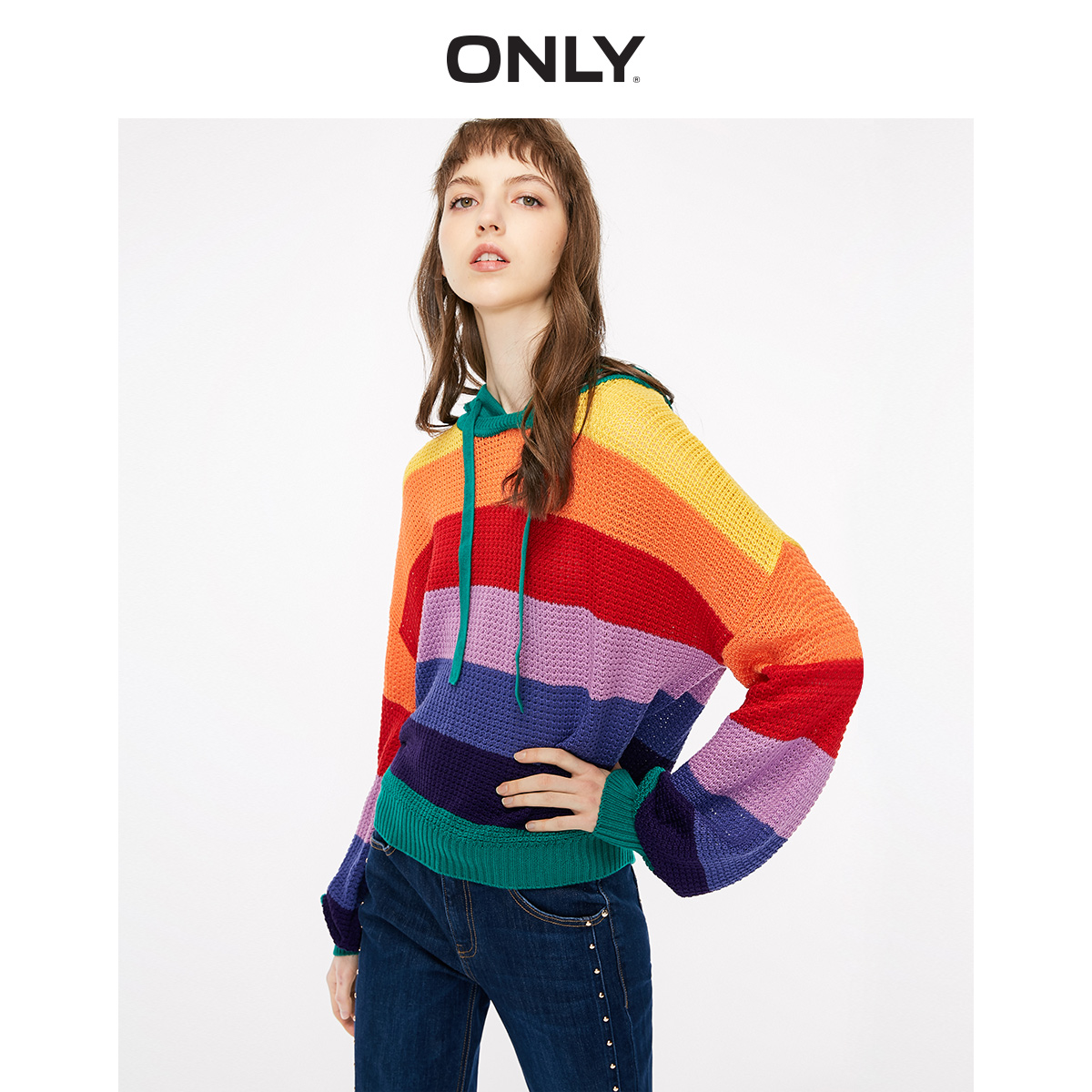 ONLY Summer New Color Mosaic Hooded Sweater Women   |  118324601
