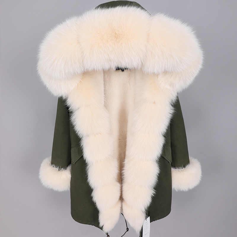 Kış Ceket Kadınlar 2019 Uzun Parka Gerçek Kürk Ceket Doğal Fox Kürk Yaka Kalın Sıcak Streetwear Marka Lüks Yeni Moda parkas