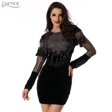 2016 winter Women Cocktail Bodycon Velvet Dress Gold Black Beading Long Sleeve Tassels sequins mesh Celebrity Party Dresses