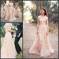 Горячая распродажа румяна розовые свадебные платья v-образным шеи коротким рукавом тюль с кружевом аппликация старинные свадебные свадебные платья шампанское