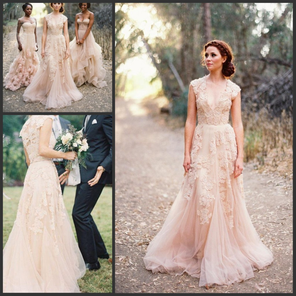 hot sale blush pink wedding gowns v neck cap sleeves tulle with lace applique vintage