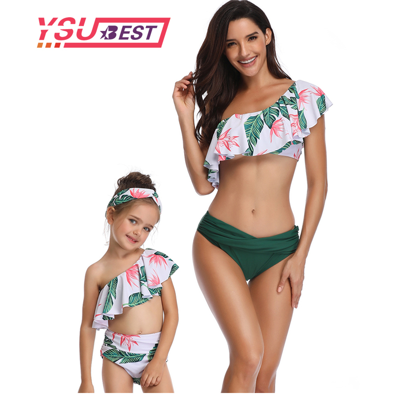 627812f866 Mother Daughter Swimsuits Flower Mommy And Me Swimwear Bikini Family  Matching Clothes Family Look Mom And