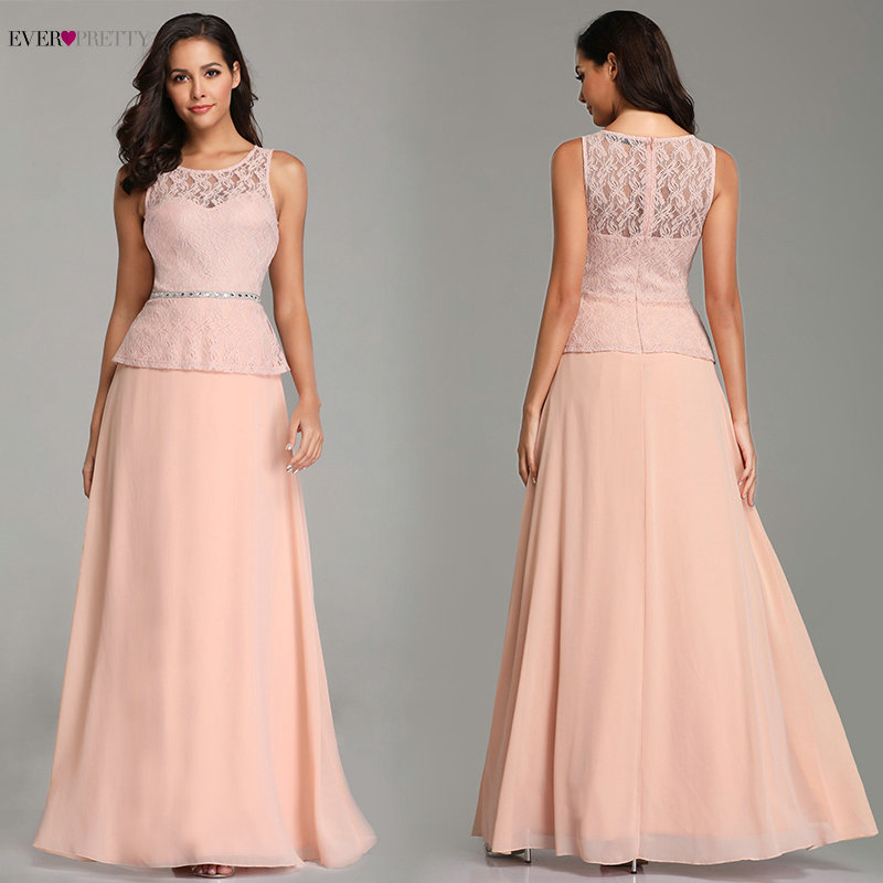 Pink Evening Dresses Long 2020 Ever Pretty Elegant A-line Sleeveless Full Lace Beading Sashes Sweetheart Robe De Soiree