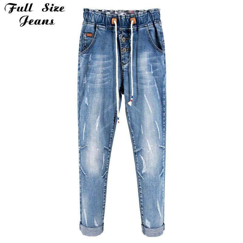 Europe Casual Boyfriends Style Plus Size Elastic Waist Loose Harem Pants High Waist Denim Jeans Elastic