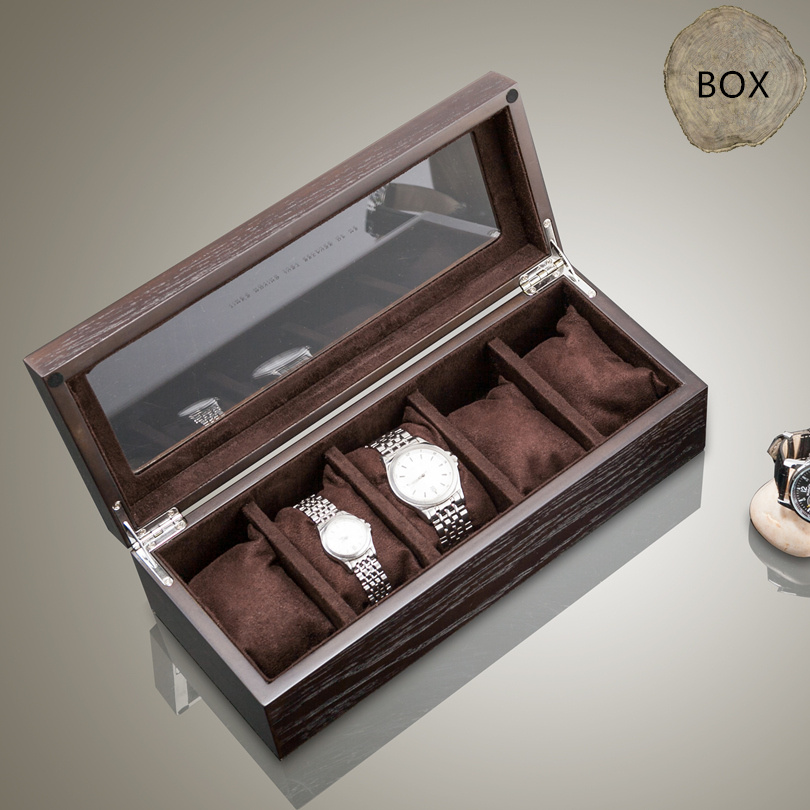 Top 5 Slots Luxury Wood/Fiberboard Watch Box With Window Pewter Veneer Watch Display Cases Jewelry Gift Watch Storage Box A031 watchcase storage luxury 22 slots 2 layer wood glossy lacquer watch box jewelry collection display drop shipping supply