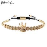 Luxus CZ Crown ball Charme kupfer Perlen Geflochtene Macrame handgemachtes männer Armbänder & Armreifen für frauen Schmuck Zubehör geschenk