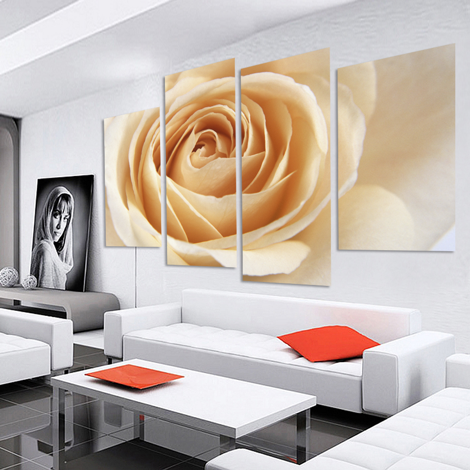 New Modular Pictures Wholesale 4 Pcs/Set Combined Flower Paintings Purple Rose Modern Wall Painting Canvas Wall Art Picture Unfr