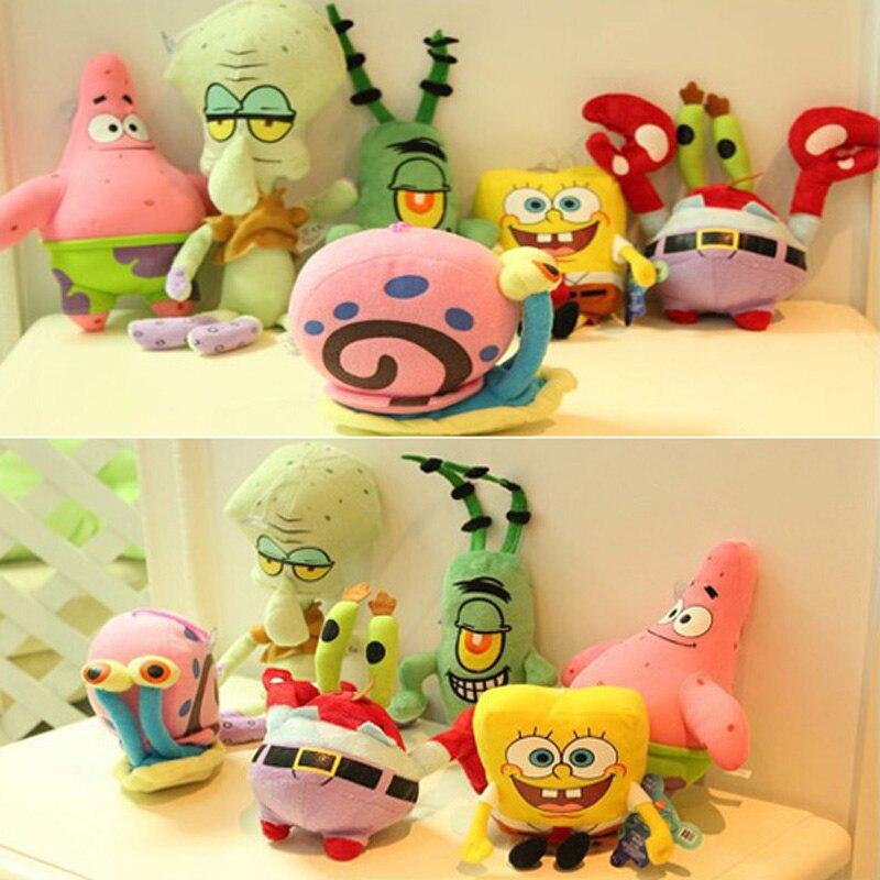 6 teile/satz SpongeBob Plüsch Spielzeug Kinder Cartoon Film Charaktere Weihnachten Geburtstagsgeschenk Spielzeug Gefüllte & Plüschtiere