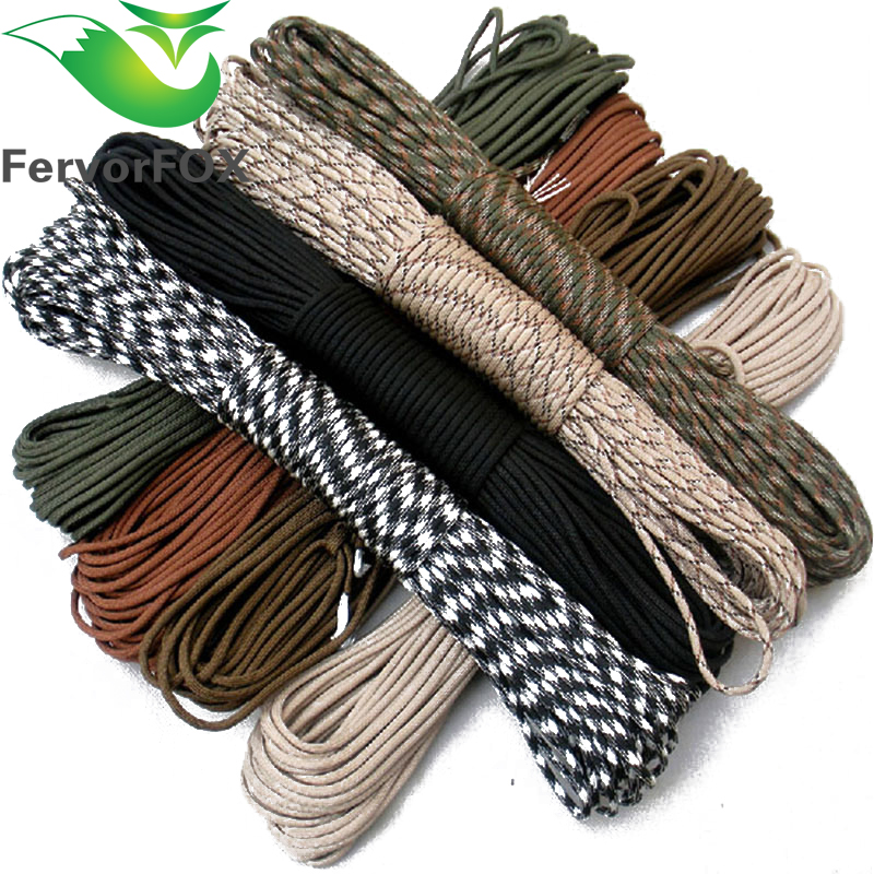 FervorFOX Paracord 550 Parachute Cord Lanyard Rope Mil Spec Type III 7 Strand 10 30Meters Climbing Camping survival equipment