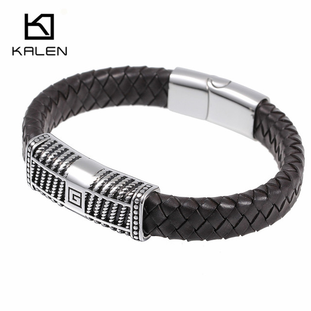 Kalen Men's Good Quality Jewelry Fashion Silver Color 316 Stainless Steel Male Cheap Braided Leather Lettte G Charm Bracelets