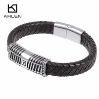 Kalen Men S Good Quality Jewelry Fashion Silver Color 316 Stainless Steel Male Cheap Braided Leather