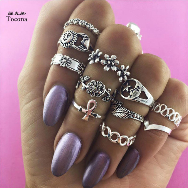 Tocona 11pcs/Set Bohemia Antique Gold Silver Flower Carved Rings Sets Knuckle Fi