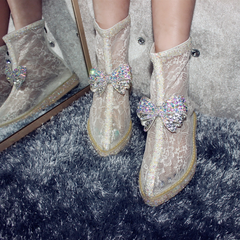 ФОТО  Fashion Magic Show Rhinestone boots High Quality Handmade Air Mesh Ankle Transparent Boots Bling Bling Crystal Woman Booties