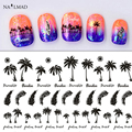 1 sheet Coconut Tree Nail Water Decals Black Feather Transfer Stickers Nail Art Sticker Tattoo Decals MYR100