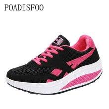 Poadisfoo Женская дышащая марли обувь на платформе Обувь для бега обувь на толстой подошве Женская Повседневная один обувь, увеличивающая рост. spp-8396