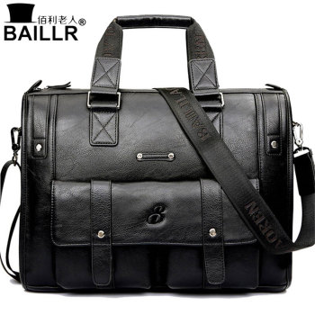 Man Bag Leather Black Briefcase Men Business Handbag Messenger Bags Male Vintage Men's Shoulder Bag Large Capacity 1
