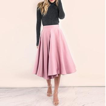 Saias 2018 Blush Pink Tea Length Satin Skirt For Yong Lady Zipper Elegant Pleated Skirts Women Custom Made Female Bottom Winter