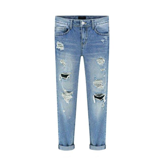 Calças de Brim das mulheres Rasgado Buraco Moda Primavera Meados de Cintura Reta Calças Jeans Lavado Calças de Algodão Nova Chegada
