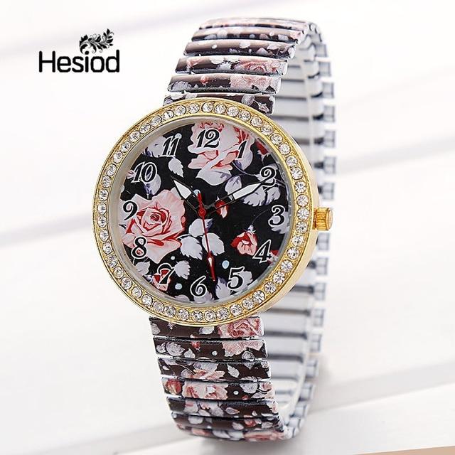 Hesiod Women Wristwatch Casual Fashion Female Crystal Elastic Strap Watch Luxury