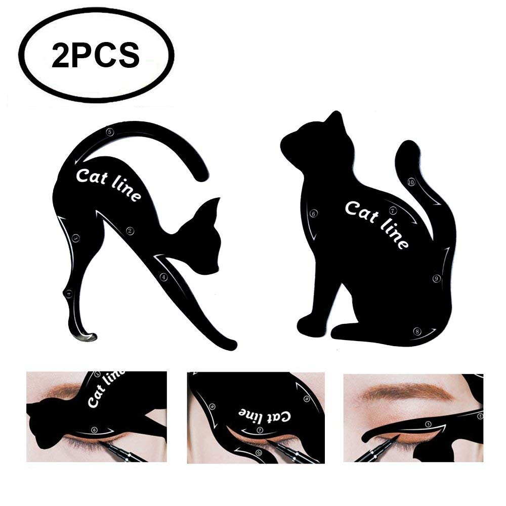 Beauty Eyebrow Mold Stencils 2Pcs Women Cat Line Pro Eye Makeup Tool Eyeliner Stencils Template Shaper Model For Women Girls