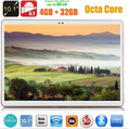 Tablet pc10 polegadas 3G 4G LTE Octa Núcleo do Comprimido 4 GB de RAM 32 GB ROM Android 5.1 IPS GPS wi-fi 5.0MP 10.1 Phablet DHL livre