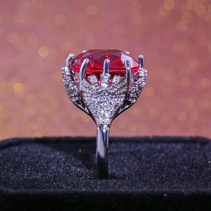 チャーム女性クリスタル赤ジルコンリングファッションシルバー 925 婚約指輪女性ヴィンテージビッグ結婚指輪バンドジュエリー