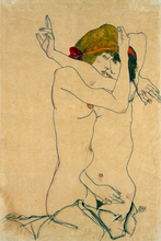 nude canvas painting portrait picture modern home decor giant poster mural print female nude young lady embrace Egon Schiele art female nude