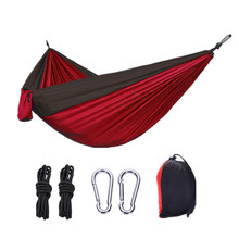 Double Nylon Hammock Outdoor Camping Ultra Light Portable Nylon Spinning Parachute Cloth Color Matching Hammock tanie tanio Meble ogrodowe Dwie osoby Hamak Osoby dorosłe