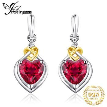 JewelryPalace Love Knot Heart 3.4ct สร้าง Red Ruby Anniversary Drop Dangle ต่างหูผู้หญิง 925 เงินสเตอร์ลิง 18 K สีเหลืองทอง