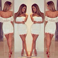 New Arrival Off The Shoulder Short Sleeves Ruffles Mini Short White Lace Cocktail Dresses 2015 Sexy Women Semi Formal Dress