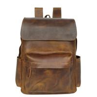 Винтажный Мужской рюкзак 15 дюймов корова кожаный рюкзак для ноутбука Натуральная кожа Мужская сумка модные рюкзаки для подростков дорожна