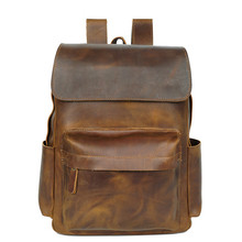 Vintage Men Backpack 15inch Cow Leather Laptop Backpack Genuine Leather Men Bag Fashion Backpacks For Teen Travel School Bag Sac