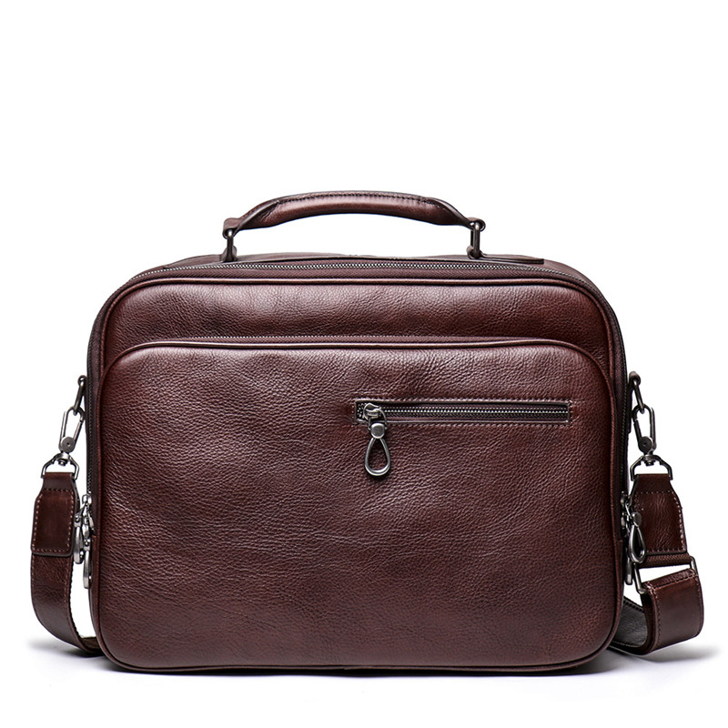 Nesitu New Vintage Brown Coffee Vegatable Tenned Genuine Leather 14'' Laptop Office Men Briefcase Portfolio Messenger Bag M9270
