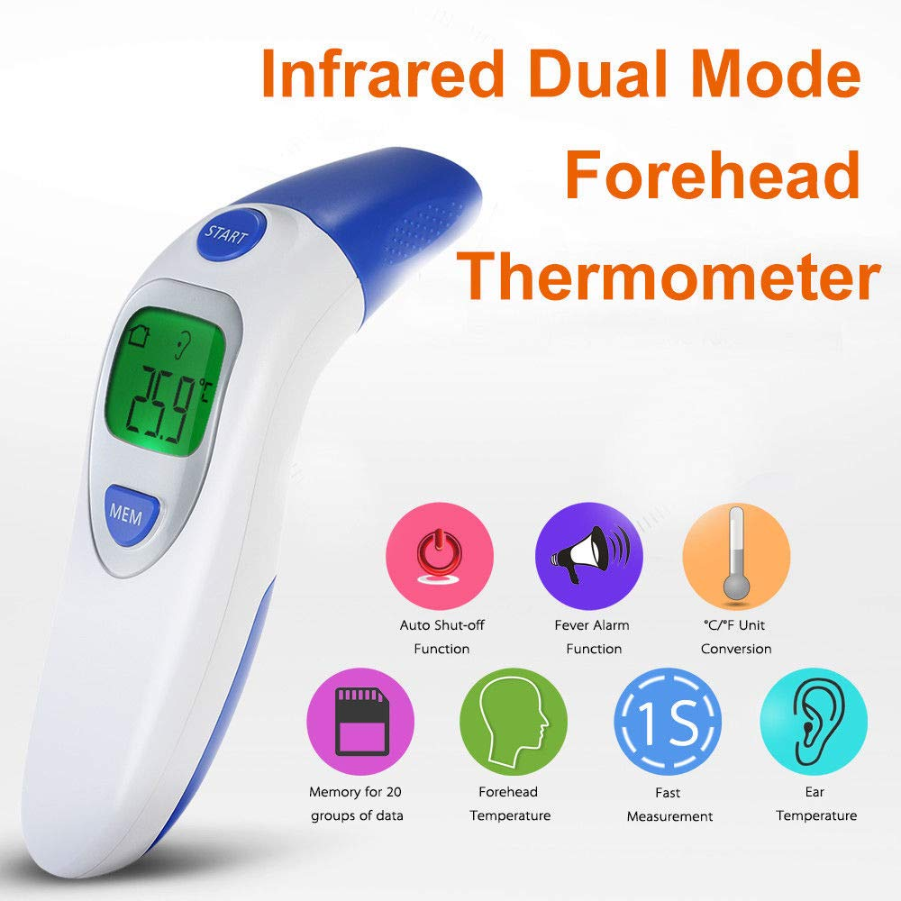 Ear And Forehead Thermometer, MASO Digital Medical Infrared Thermometer For Baby And Adults Fever With CE And FDA