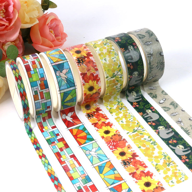 1X 5M colorful grid washi tape hobbyhouse Paper DIY Planner Masking Tape Adhesive Tapes Stickers Decorative Stationery Tapes in Office Adhesive Tape from Office School Supplies
