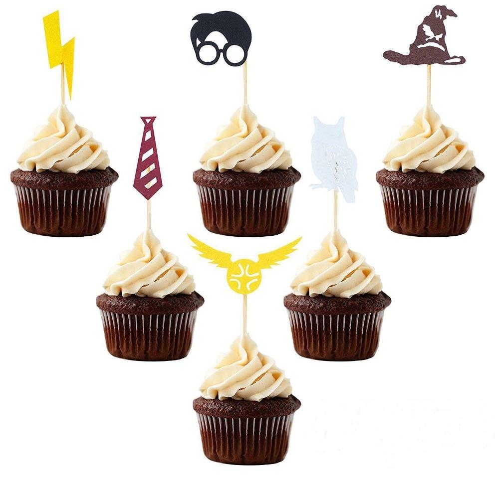 Omilut 6pcs Decorazione di Halloween Harry Fulmine Torta Cupcaker Topper Decorazione Baby Shower Festa di Compleanno per Bambini Su