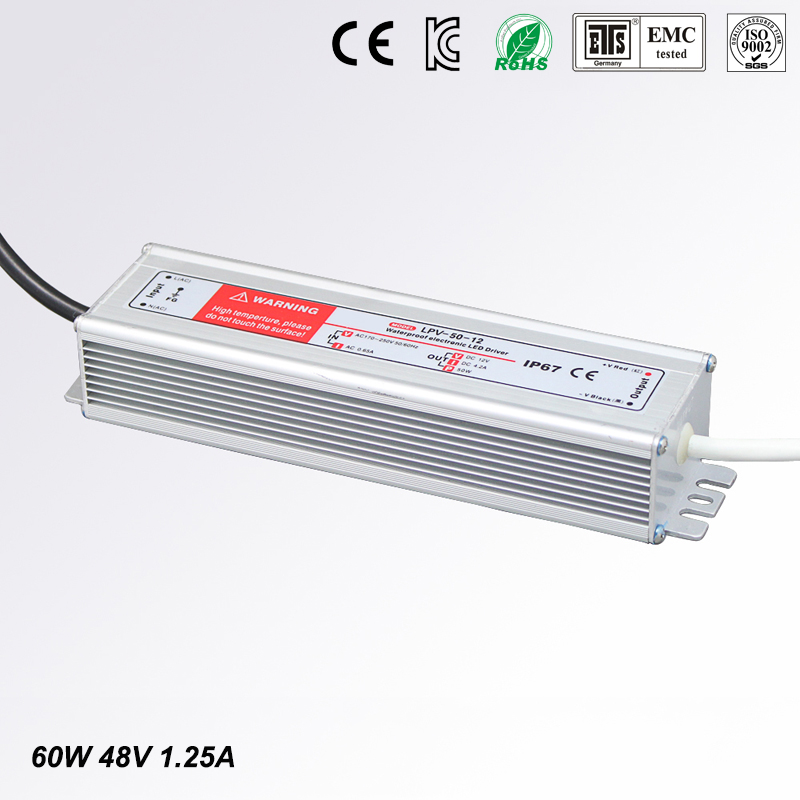 LED Driver Power Supply Lighting Transformer Waterproof IP67 Input AC170-250V DC 48V 60W Adapter for LED Strip LD504