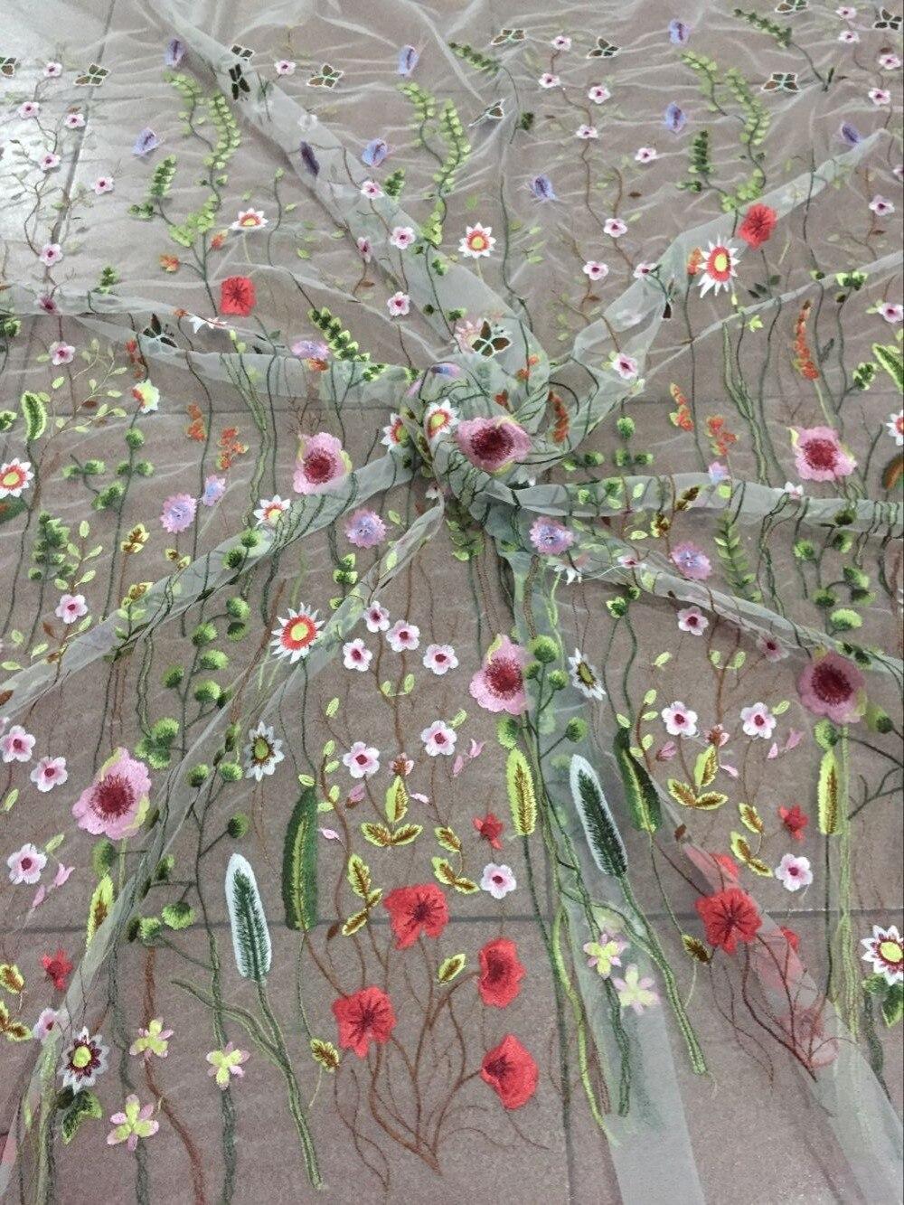 Ultime Moda fiore ricamo tessuto del merletto di alta qualità CiCi 5409 tulle Africano tessuto di pizzo-in Pizzo da Casa e giardino su  Gruppo 1