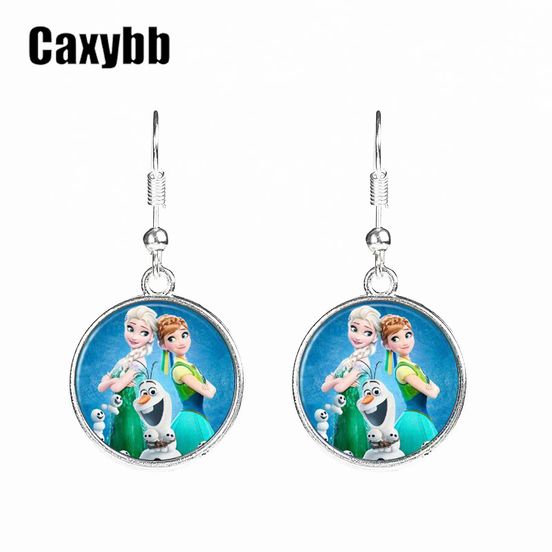 Caxybb 2016 New women jewelry Movie cartoon Anna Elsa girls earring jewelry friendship jewelry Earrings gifts image