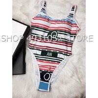 2019 New Striped Swimwear One Piece Swimsuit Women Backless Sport Bodysuit Beach Bathing Suit Swim