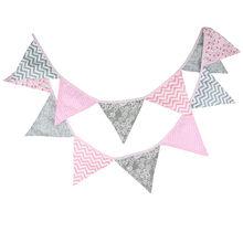 12 bandeiras 3.2m rosa onda de prata flor tecido algodão bunting bandeiras bandeira guirlanda chuveiro do bebê/ao ar livre diy decoração para casa