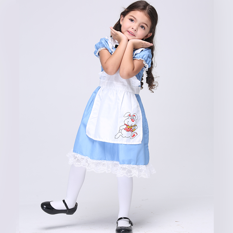 Girls Halloween Costumes Alice in Wonderland Dress Cosplay Stage Wear Clothing Sets Kids Party Fancy Ball Clothes Lolita Maid