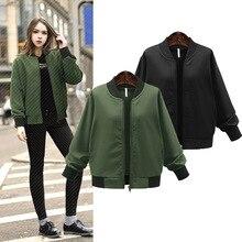 Women Vintage Solid Army Green Black Zipper Solid Xl-5xl Jackets Fashion Baseball Coat Golden Bomber Pilots Outwear Yn-898