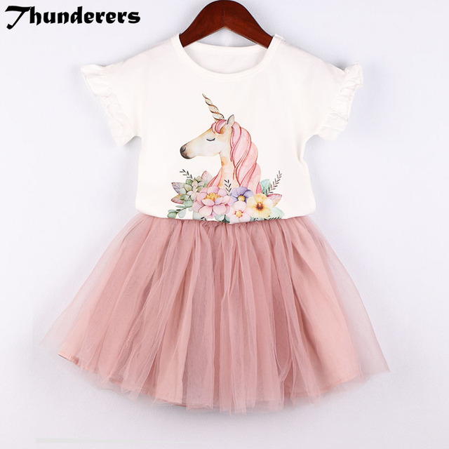 3f37b42ee Trajes para niños Niñas Ropa conjunto 2018 nuevo unicornio mágico patrón  blanco camiseta falda de encaje