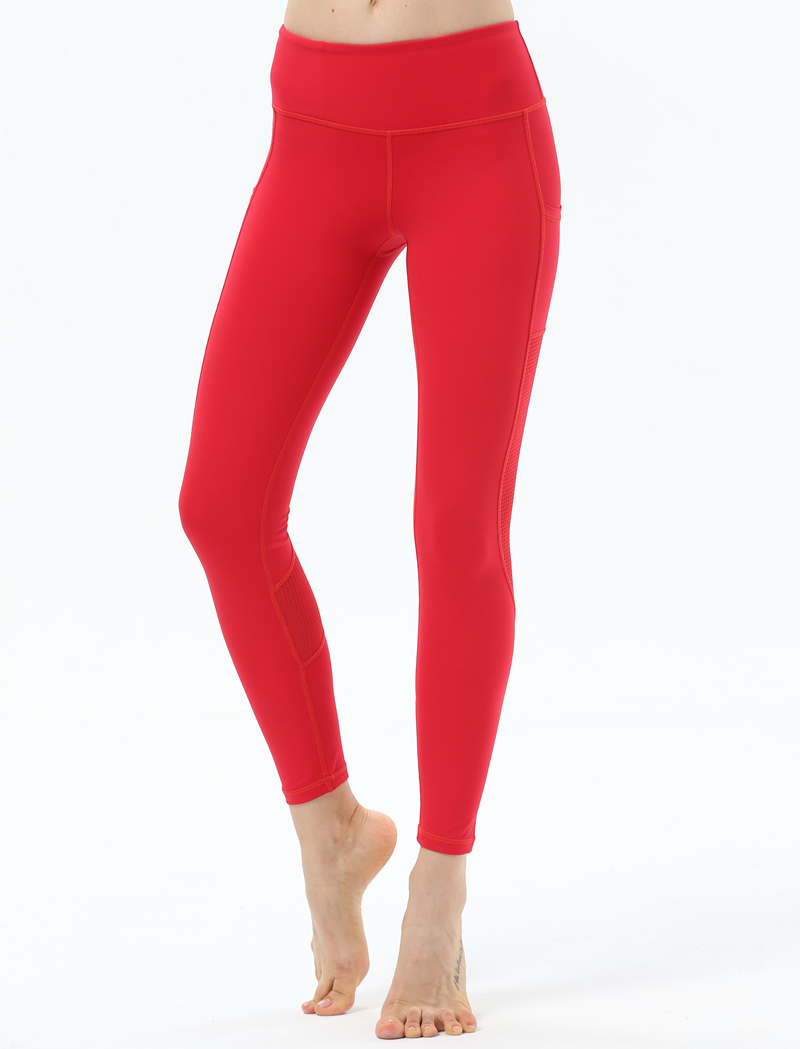 4fa84dde12d3 Red Yoga Pants Women Mesh Patchwork Gym Leggings Sport Fitness Breathable  Running Compression Tights Women Sport Trousers 2018  321189