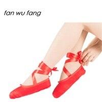 Fan wu fang Giảm Giá Mới Giá Hot Bán Phụ Nữ Ba Lê Giày Khiêu Vũ Pointe Red Satin Canvas Cô Gái Chuyên Nghiệp Toe Nhảy Múa giày