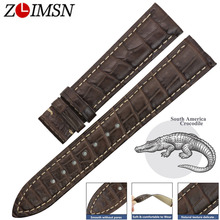 ZLIMSN Genuine Leather Watch Band For Omega/De Ville/Hippocampus Watches Straps For Male Crocodile Leather Bracelet Belt 14-24mm watch band for omega alligator leather strap for de ville for aqua terra croc watches straps for men 19 20mm black bracelet belt