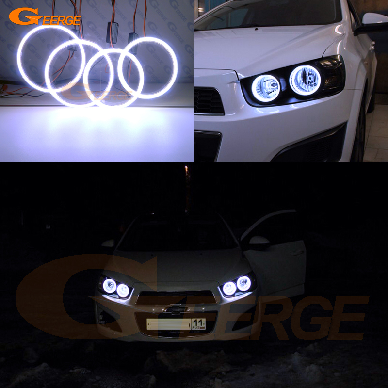 For Chevrolet AVEO Sonic T300 2011 2012 2013 2014 Excellent Ultra bright illumination COB led angel eyes kit halo rings накладка на задний бампер с загибом chevrolet aveo iii 5d 2011 carbon