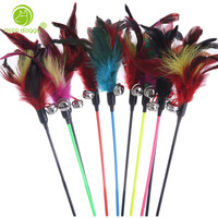 100 Pcs/Set Colorful Feather Pet Dog Toys Lovely Bells Training Funny Cat Dogs Toys for Small Dogs Interactive Puppy Kitten Toy