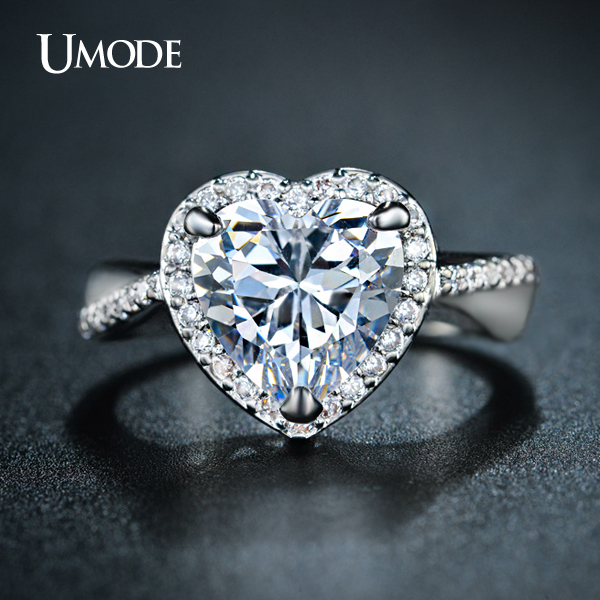 UMODE Brand Halo Engagement Rings 4ct Heart Shaped Center Stone CZ Crystal Ring For Women White